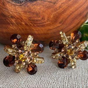 Vtg Amber & Topaz Rhinestone Flower Clip Earrings